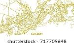 detailed vector map of galway... | Shutterstock .eps vector #717709648