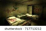 horror and creepy ward room in... | Shutterstock . vector #717713212