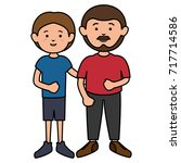 father with son avatars... | Shutterstock .eps vector #717714586