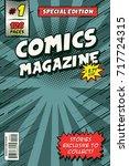 comic book cover model. vector... | Shutterstock .eps vector #717724315