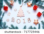 new year 2018 background with... | Shutterstock . vector #717725446