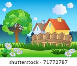 spring landscape with two...   Shutterstock .eps vector #71772787