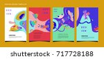 colorful abstract liquid and... | Shutterstock .eps vector #717728188