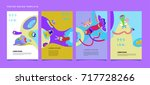 colorful abstract liquid and... | Shutterstock .eps vector #717728266