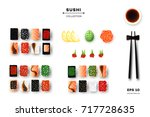 collection of different sushi...   Shutterstock .eps vector #717728635