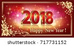 postcard happy new year 2018 in ... | Shutterstock .eps vector #717731152
