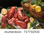 Plate With 2 Cooked Lobsters ...