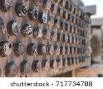 bolts on cooler fan booster... | Shutterstock . vector #717734788