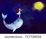 graphic watercolor digital... | Shutterstock . vector #717738556