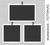 photo frame with clip on grey... | Shutterstock .eps vector #717739192