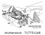 perspective of machu picchu ... | Shutterstock .eps vector #717751168
