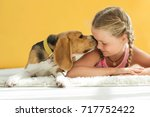 child with dog | Shutterstock . vector #717752422