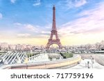 view of the eiffel tower in... | Shutterstock . vector #717759196