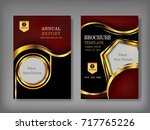 gold cover annual report... | Shutterstock .eps vector #717765226