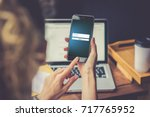 close up of smartphone with... | Shutterstock . vector #717765952
