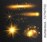 set of transparent golden light ... | Shutterstock .eps vector #717767722