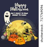 happy halloween vector greeting ... | Shutterstock .eps vector #717769096