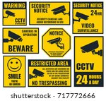 security camera sticker  video... | Shutterstock .eps vector #717772666
