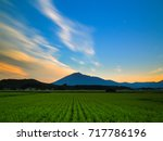 rice fields and mountain view... | Shutterstock . vector #717786196