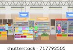 supermarket and people shopping ... | Shutterstock .eps vector #717792505