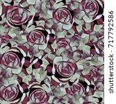 roses.seamless background.... | Shutterstock . vector #717792586