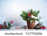 christmas and new year still... | Shutterstock . vector #717793306