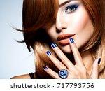 portrait of a beautiful woman... | Shutterstock . vector #717793756