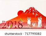 dog new year's cards mt. fuji... | Shutterstock .eps vector #717795082