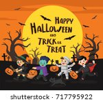 happy halloween. children... | Shutterstock .eps vector #717795922