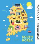 map of korea attractions vector ... | Shutterstock .eps vector #717796642