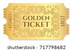 gold ticket  golden token  tear ... | Shutterstock .eps vector #717798682