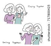 set of girls talk concept....   Shutterstock .eps vector #717800425