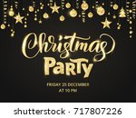 christmas party poster template.... | Shutterstock .eps vector #717807226