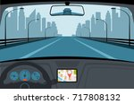 car on the road  a view from... | Shutterstock .eps vector #717808132