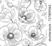 poppy flowers buds leaves.... | Shutterstock .eps vector #717809362