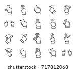 premium set of gesture line... | Shutterstock .eps vector #717812068