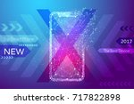 new smart phone white low poly... | Shutterstock .eps vector #717822898