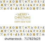 christmas card with wishes and... | Shutterstock .eps vector #717825625