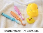 toothbrush of baby health care... | Shutterstock . vector #717826636