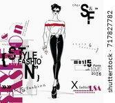 fashion woman in sketch style....   Shutterstock .eps vector #717827782