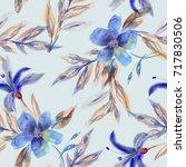 watercolor flowers seamless...   Shutterstock . vector #717830506
