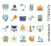 school icons set. outline icon... | Shutterstock . vector #717831676