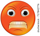 red fuming angry emoji vector... | Shutterstock .eps vector #717842776