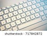 keyboard blue an yellow light... | Shutterstock . vector #717842872