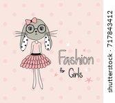 bunny girl vector illustration  ... | Shutterstock .eps vector #717843412
