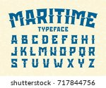 maritime style typeface vector... | Shutterstock .eps vector #717844756