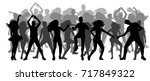 isolated  crowd of silhouettes ... | Shutterstock . vector #717849322