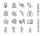 mafia and gangster line icon... | Shutterstock .eps vector #717853852