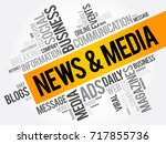 news and media word cloud... | Shutterstock .eps vector #717855736