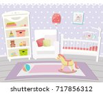 flat design. baby room with a ... | Shutterstock .eps vector #717856312